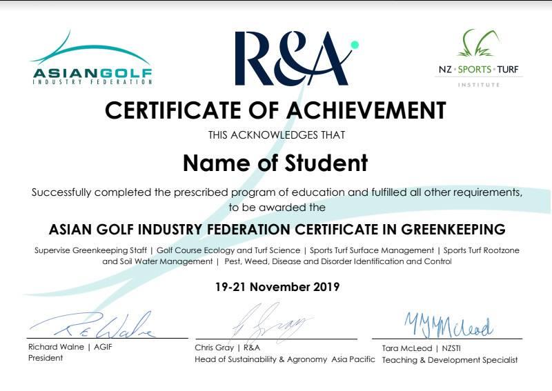 Greenkeeping Certificate
