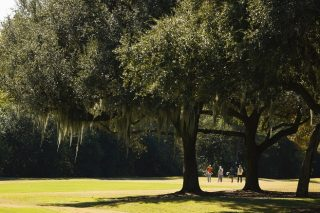 Competitors walks down the fairway on the first hole during the practice round at the 2020 U.S. Women's Open at Champions Golf Club (Cypress Creek Course) in Houston, Texas on Tuesday, Dec. 8, 2020. (Chris Keane/USGA)